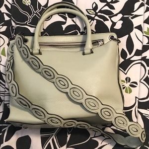 Mint green handbag with long removable strap